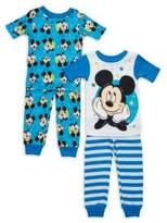 AME Sleepwear Little Boy's Four-Piece Mickey Mouse Pajama Set