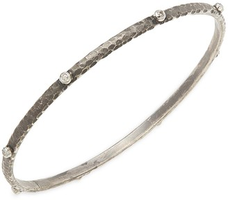 Sara Weinstock Black Rhodium-Plated Sterling Silver, White Gold & Diamond Bangle