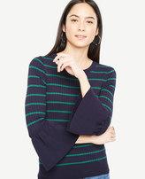 Ann Taylor Petite Striped Flare Cuff Sweater