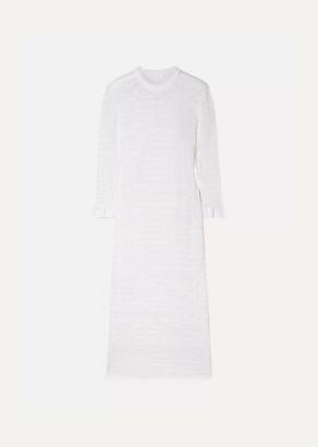 Chloé Striped Cotton-blend Stretch-lace Midi Dress - White
