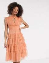 Anaya With Love tulle layered frill midi dress in soft coral