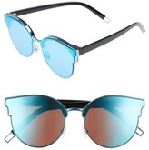 Leith Women's 60Mm Mirror Lens Cat Eye Sunglasses - Black/ Blue