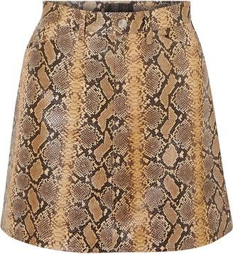 Sprwmn Snake-effect Leather Mini Skirt