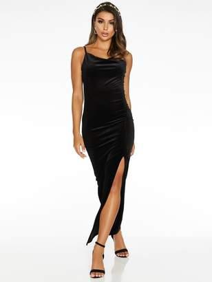 Quiz X Sam Faiers Velvet Cowl Neck Maxi Dress - Black