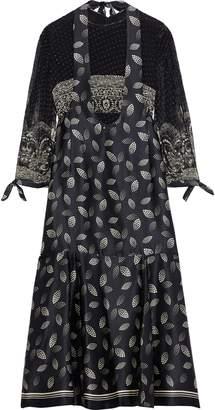 Anna Sui Layered Printed Fil Coupe Chiffon And Silk-satin Midi Dress