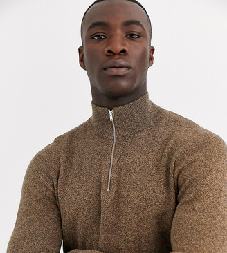 ASOS DESIGN Tall midweight half zip jumper in tan twist
