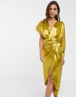 Asos Design DESIGN high shine satin drape wrap midi dress with asymmetric sleeve-Gold