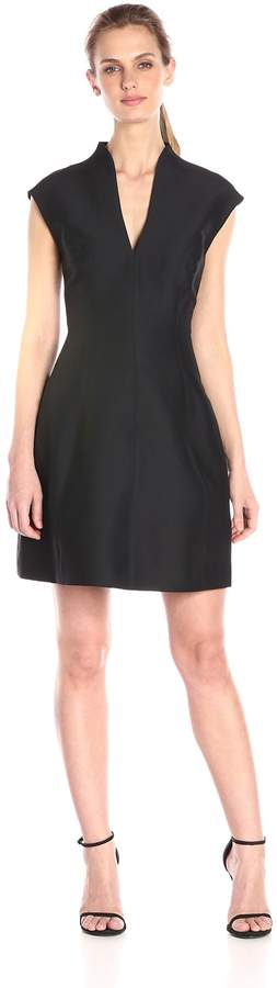 Halston Women's Silk Faille Cap-Sleeve Cocktail Dress