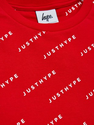 Hype BoysOver Logo Short Sleeve T-Shirt - Red