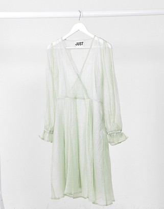 Just Female Sanne sheer wrap dress in grey