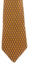 Hermes Lattice Print Silk Tie