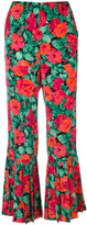 Gucci rose print flared trousers - women - Silk - 38