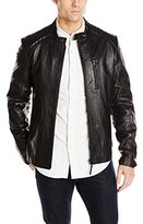 Soia & Kyo Men's Clinton Quilted Shoulder Washed Leather Jacket