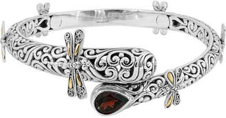 Garnet (1 ct. t.w.) Sweet Dragonfly Classic Bangle in Sterling Silver and 18K Yellow Gold