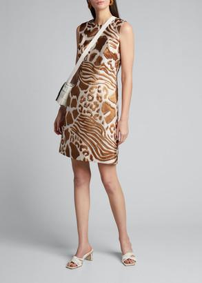 Adam Lippes Mixed Animal Print Jacquard Sheath Dress