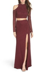 La Femme Long Sleeve Embellished Two-Piece Gown