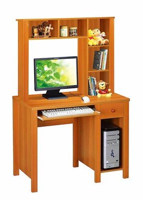 Winston Porter Inyo Computer Desk with Hutch Color: Light Cherry