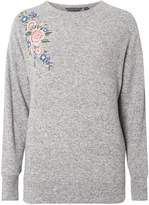 Dorothy Perkins **Tall Grey Embroidered Brushed Jumper
