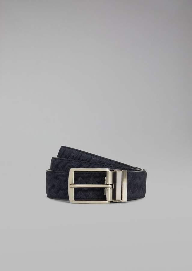 Giorgio Armani Belt In Crust Leather With Vinegar Print