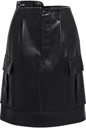 Helmut Lang Zip-detailed Pleated Leather Skirt
