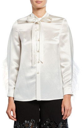 Huishan Zhang Feather-Seamed Satin Button-Front Blouse