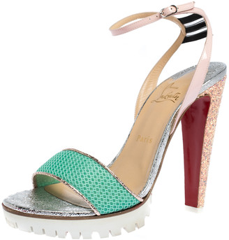 Christian Louboutin Multicolor Mesh And Patent Discoport Ankle Strap Sandals Size 41