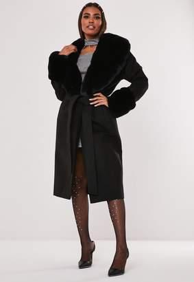 Missguided Tall Hayden Williams X Black Faux Fur Collar Cuff Coat