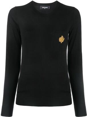 DSQUARED2 Embellished Patch Pocket Wool Jumper