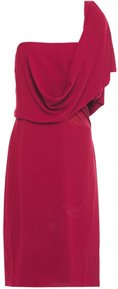 Halston One-shoulder Draped Crepe De Chine Dress