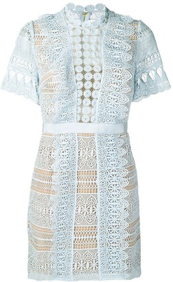Self-Portrait Short Lace Panel Dress