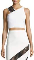 David Koma Crocheted Lace-Strap Crop Top, White/Black