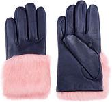 Aristide Navy & Pink Rabbit Fur Gloves