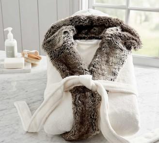 Pottery Barn Gray Ombre Faux Fur Robe