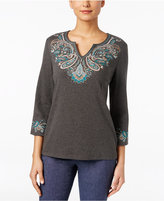 Karen Scott Three-Quarter-Sleeve Embroidered Top, Only at Macy's