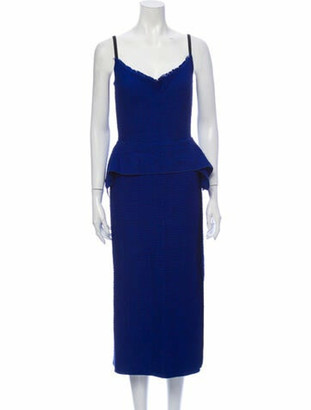 Roland Mouret V-Neck Midi Length Dress Blue