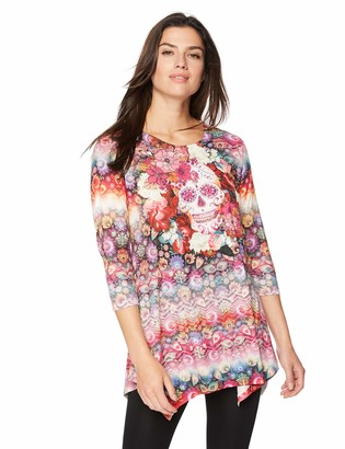 One World ONEWORLD Women's 3/4 Sleeve Holiday Theme Print Tunic Top