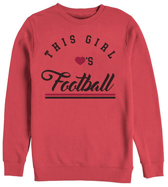 Chin Up Apparel Women's Sweatshirts and Hoodies RED - Red 'This Girl Loves Football' Crewneck Sweatshirt - Women