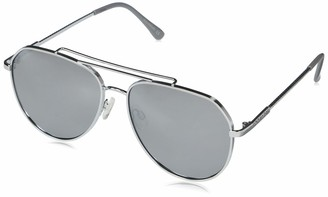 Rocawear Women's R3301 Retro Metal Aviator with Brow Bar Rope Textured Temple Enamel Tips and 100% UV Protection 55 mm