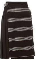 Le Kilt - Houndstooth-panel Pleated Wool Skirt - Womens - Black White