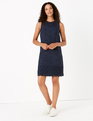 Marks and Spencer Pure Cotton Embroidered Shift Dress