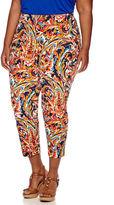 Liz Claiborne Print Slim Crop Pants - Plus