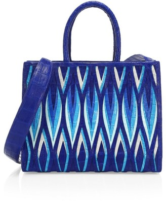 Nancy Gonzalez Medium Woven Crocodile Tote