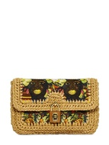 Dolce & Gabbana Printed Canvas & Raffia Shoulder Bag