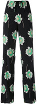 Agnona floral print straight trousers - women - Silk/Elastodiene/Cupro - 40
