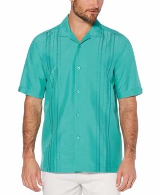 Cubavera Geometric embroidery panel shirt