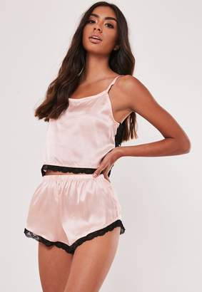 Missguided Nude Satin Contrast Lace Back Cami Pyjama Set