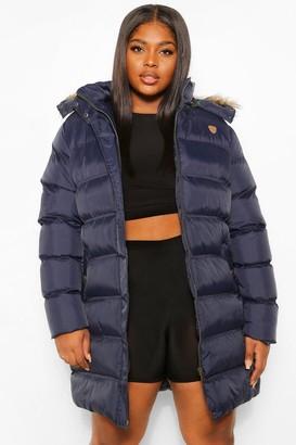 boohoo Plus Longline Padded Hooded Jacket