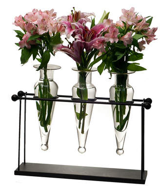 clear Danya B. Triple Amphora on Iron Stand with Finials Vases