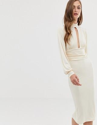 Asos DESIGN slinky keyhole ruched waist midi dress