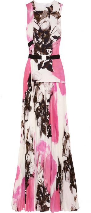 Christopher Kane Rose-print pleated silk-chiffon gown